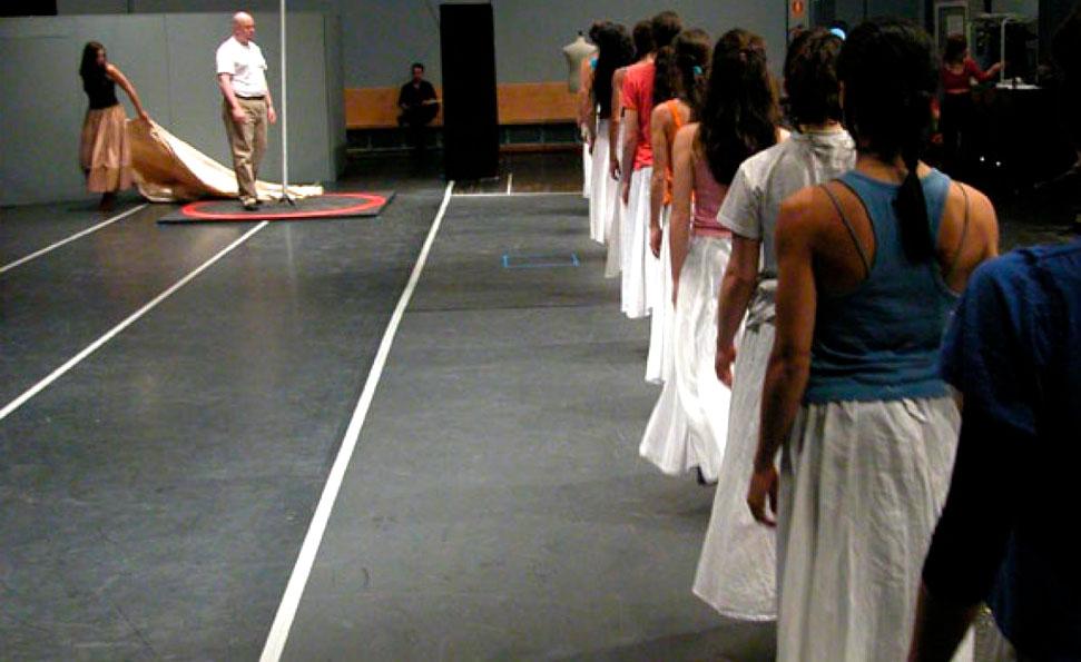 Ensayo, durante una visita artística al Teatro Real.