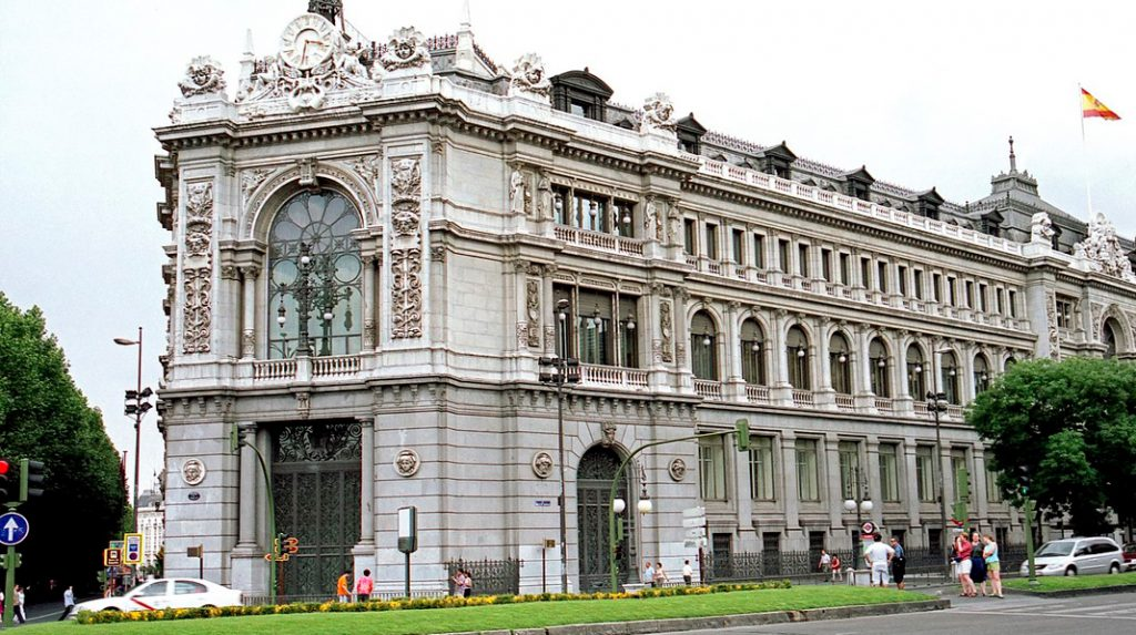 Fachada principal del edificio del Banco de España.