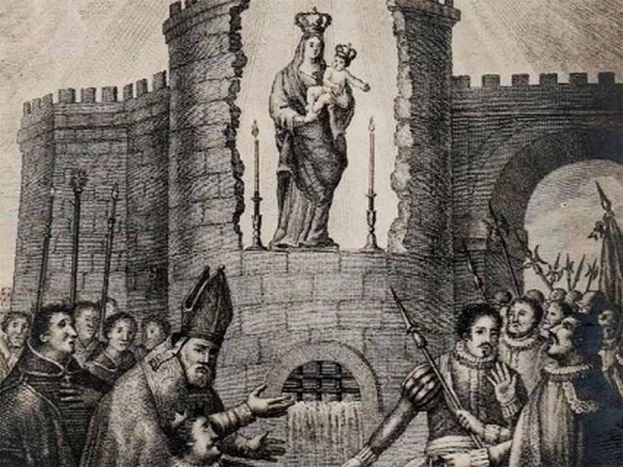 Grabado antiguo que ilustra el descubrimiento de la Virgen de la Almudena en la muralla de Madrid.