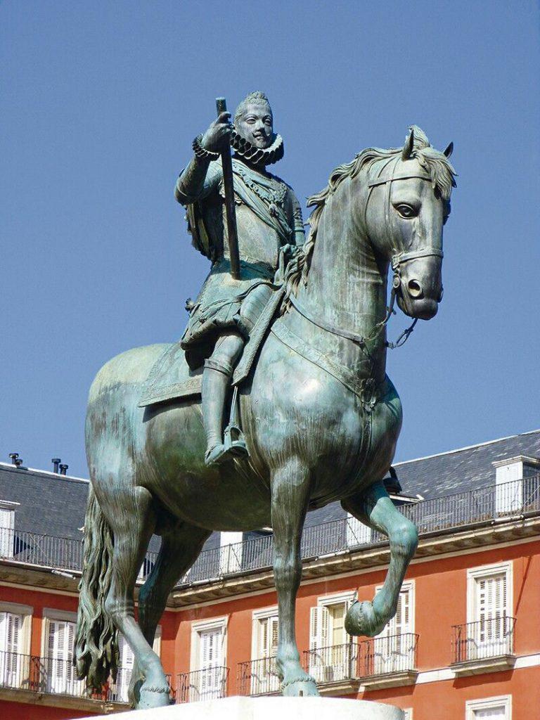 Detalle de la estatua ecuestre de Felipe III.