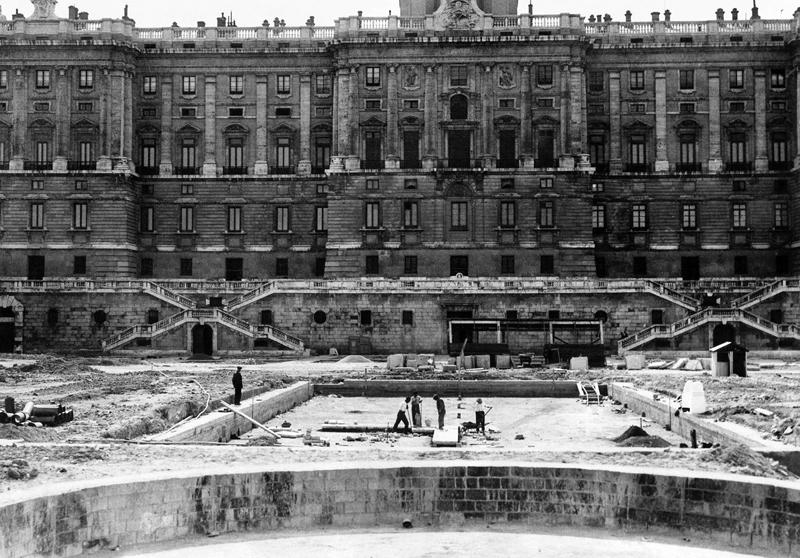 Jardines de Sabatini, durante su construcción.