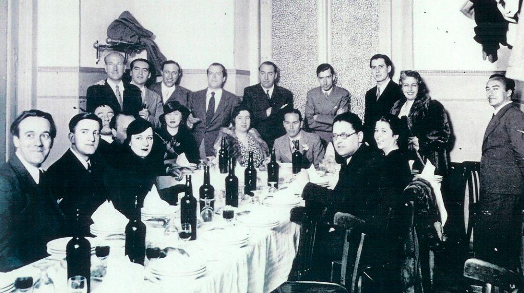 Intelectuales de la Generación del 27 reunidos en el restaurante Los Galayos.
