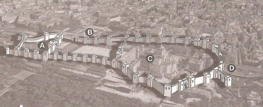 Representación de la muralla Árabe sobre una perspectiva actual de Madrid.