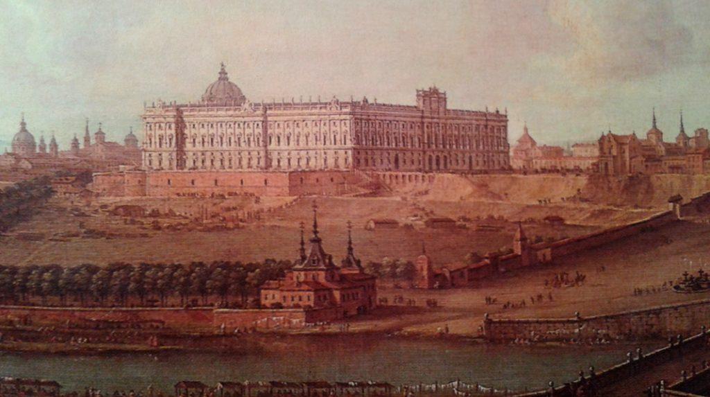 Pintura de Antonio Joli con una Vista del Palacio Real de Madrid en 1753.
