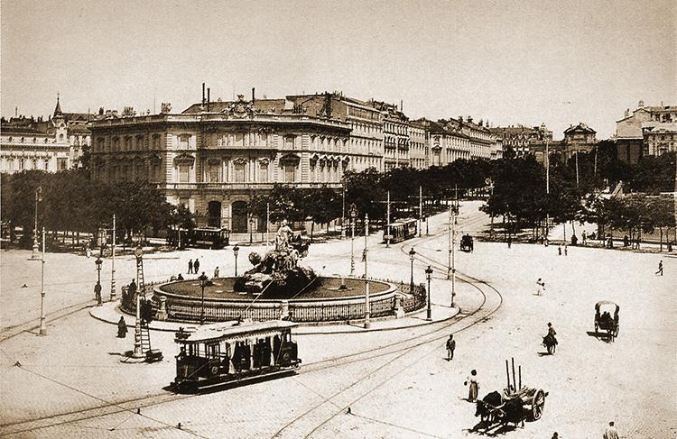 Aspecto de la Plaza de Cibeles en 1895.