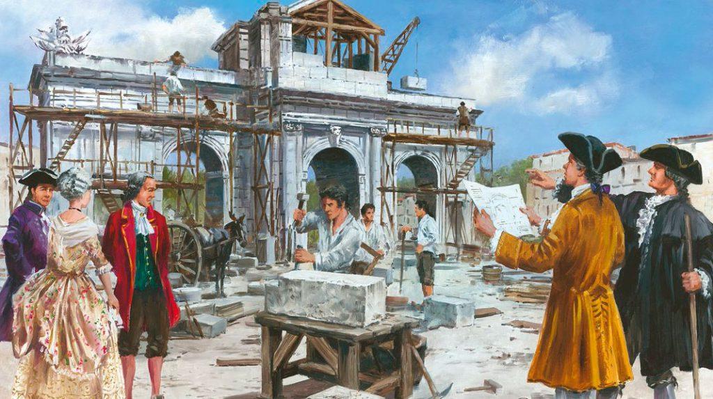 Ilustración sobre la construcción de la Puerta de Alcalá (Ed. La Librería)