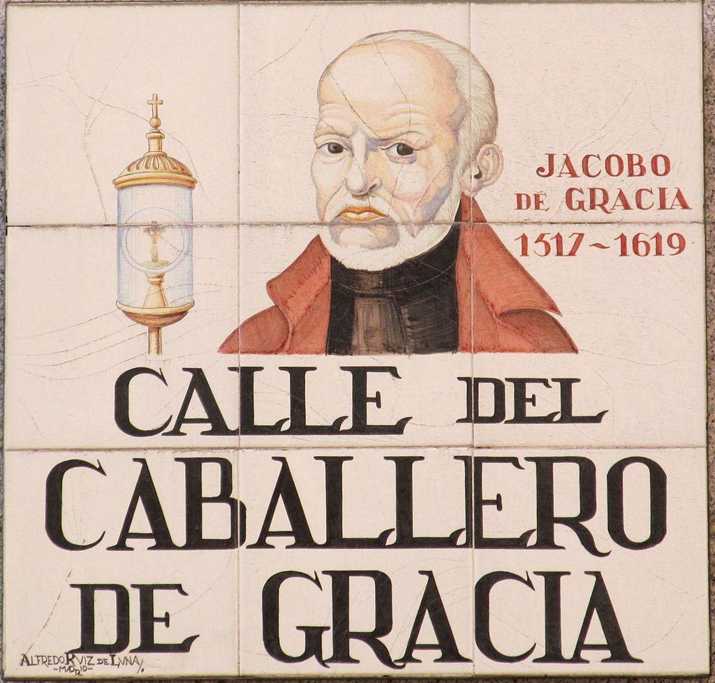 Azulejo que da nombre a la calle del Caballero de Gracia.