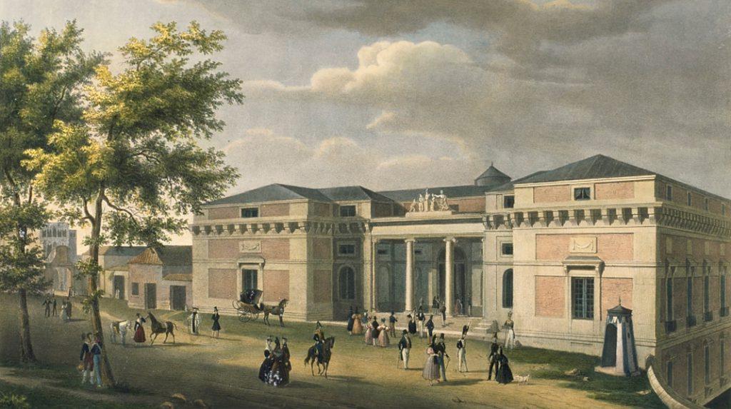 Dibujo de la Entrada al Museo del Prado por el lado de San Jerónimo. Fernando Brambila y José de Madrazo en 1833.