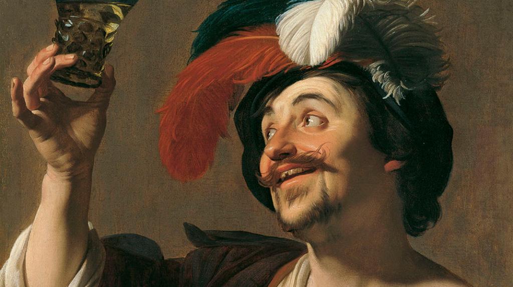 El violinista alegre con un vaso de vino, Gerrit van Honthors.