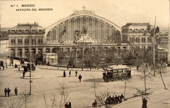 Aspecto de la Estación de Atocha, entonces llamada Estación del Mediodía, en 1910.