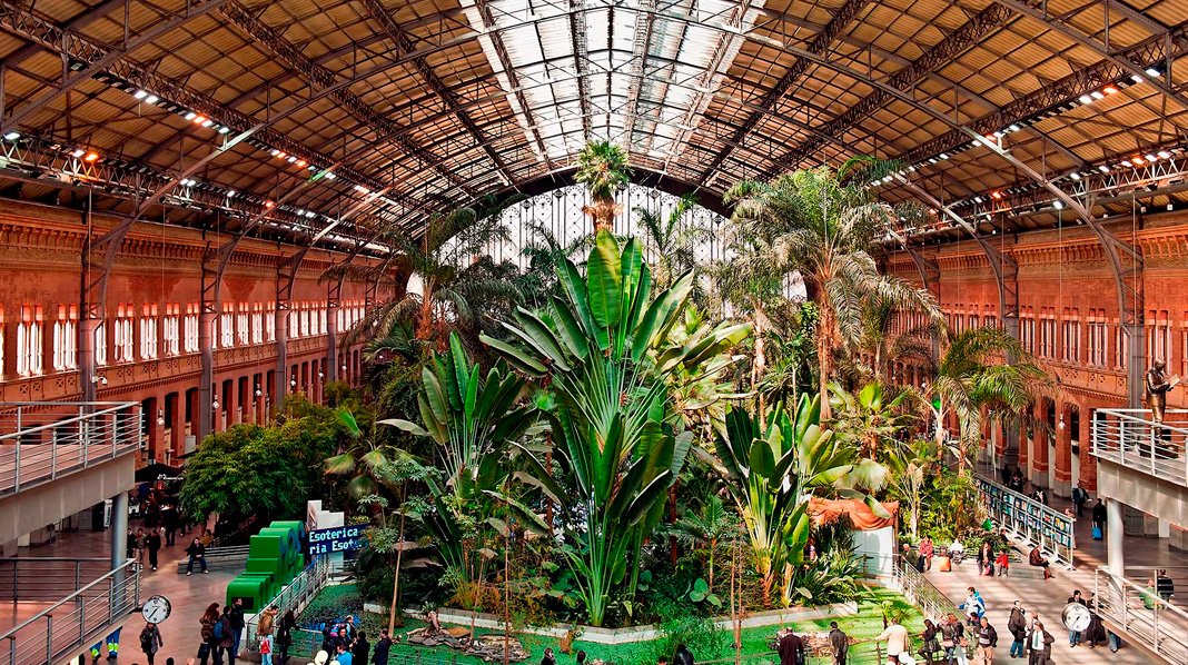 Jardín Tropical en el interior de la Estación de Atocha de Madrid.