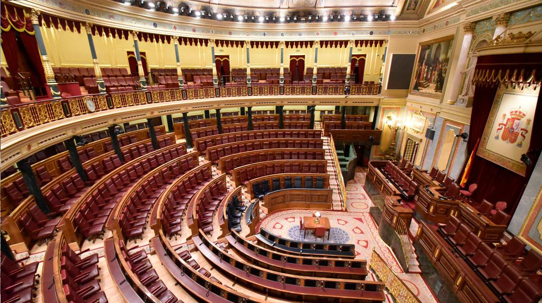 Sala del Congreso de los Diputados, conocida como Hemiciclo por su forma semicurcular.