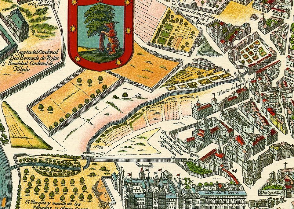 Plano del aspecto de la zona de la actual Plaza de España en 1623. (Mancelli, 1623)