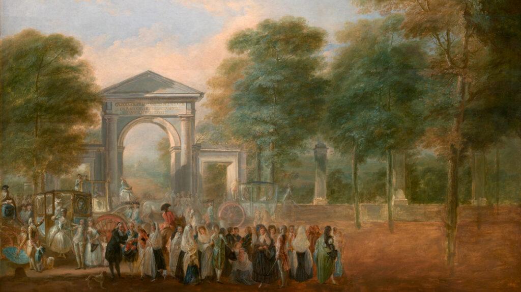 El Jardín Botánico desde el Paseo del Prado, Luis Paret y Alcázar, Hacia 1790.