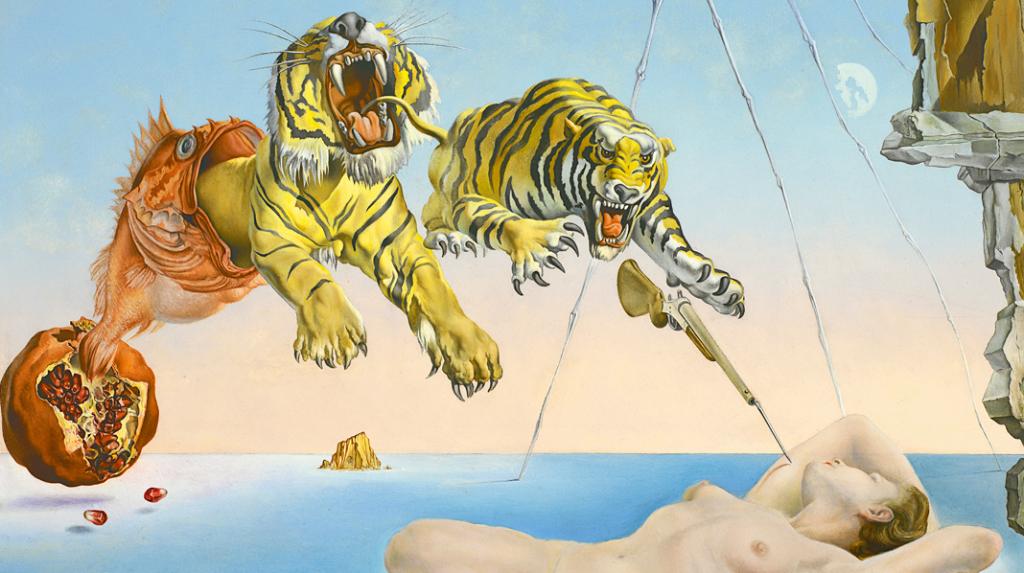 Sueño causado por el vuelo de una abeja alrededor de una granada un segundo antes del despertar, Salvador Dalí (1944)