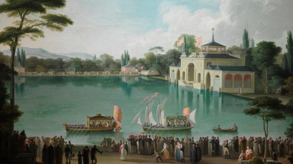 Embarque Real en el Estanque Grande del Retiro. de José Ribelles (h. 1820). Museo del Prado (Madrid)