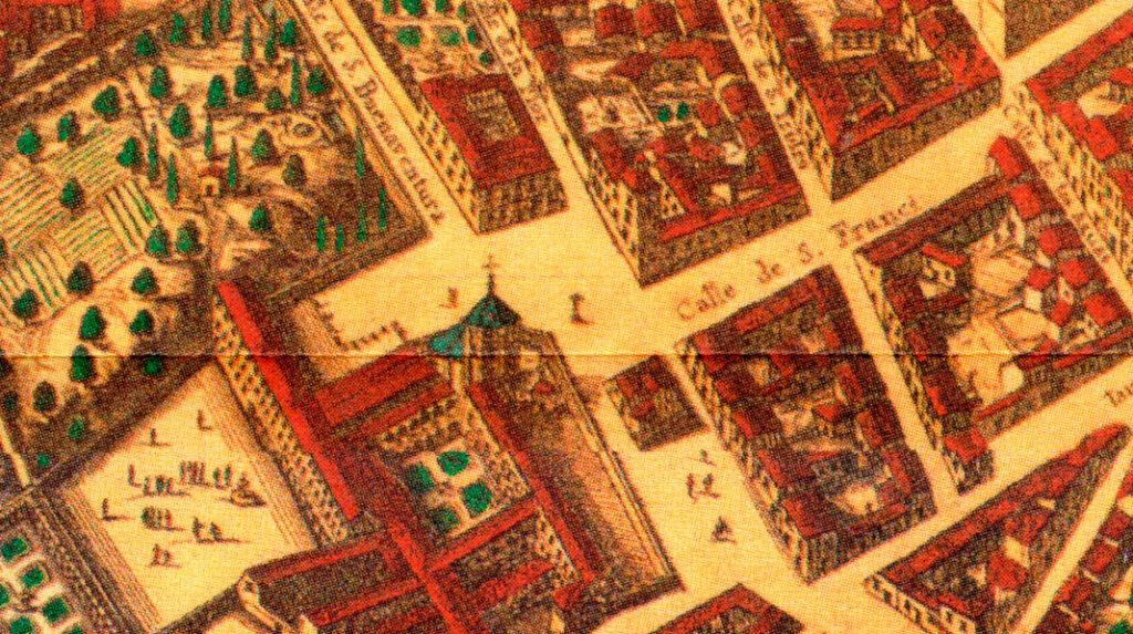 Aspecto del Monasterio de San Francisco y su plaza en el plano de Pedro Texeira creado en 1656.