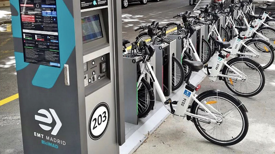 Típica estación de bicicletas públicas de Madrid.