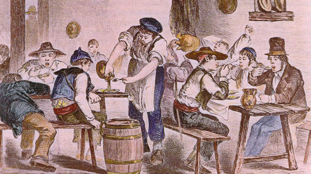 Aspecto y ambiente de una antigua casa de comidas madrileña, según un grabado datado en 1860.