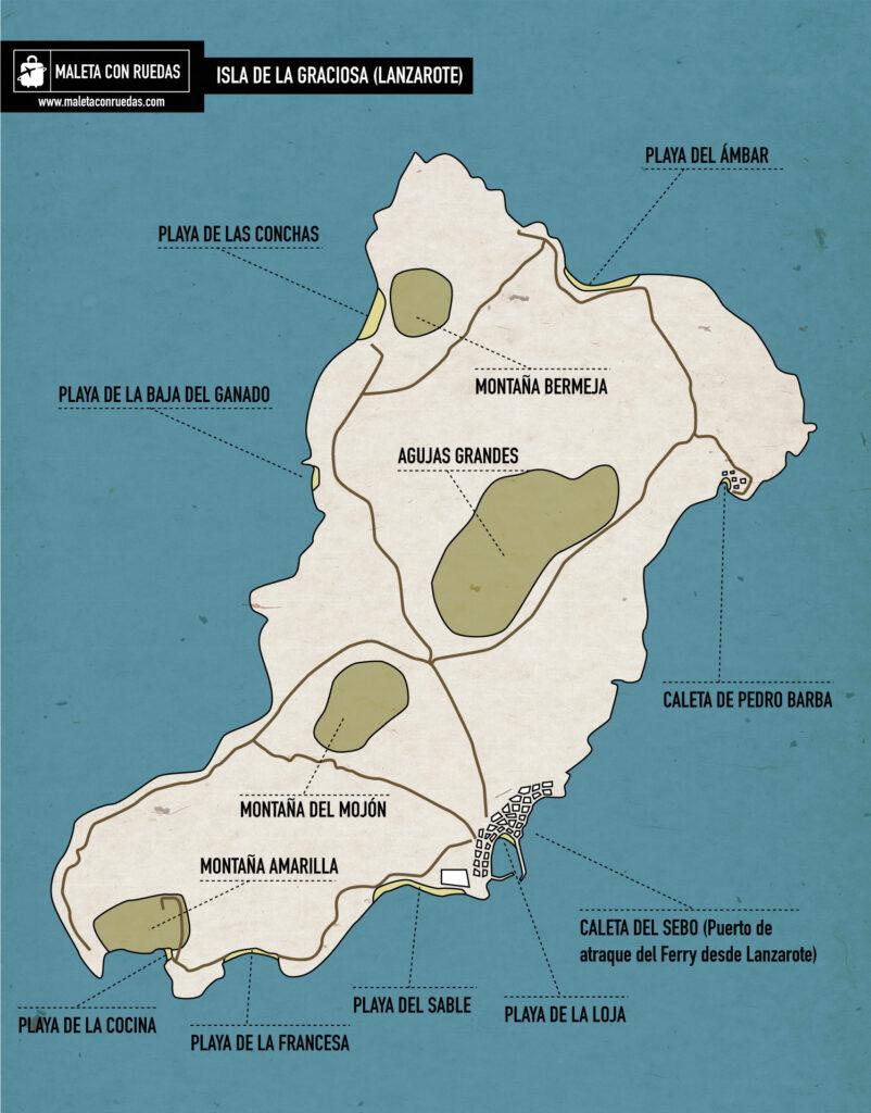 Mapa de La Graciosa, Lanzarote.